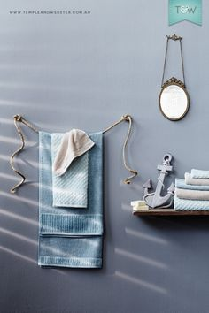 BATHROOM 2 cleats with rope for hanging bath and beach towels = Clever styling