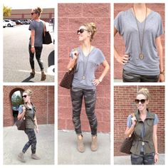 Meagan's Moda - Page 2 of 146 - Style for the Seasons Fashion Blogs, Fashion Ideas, Fashion Inspiration, Camo Skinnies, Grey Tee, Gray, Olive Vest, Camo Fashion, Edgy Chic