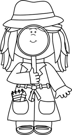 Girl Detective with Magnifying Glass