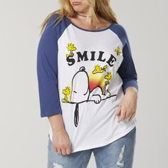 b81899885de0a Plus Size Peanuts By Schulz Snoopy Juniors  Plus Raglan Sleeve Graphic  T-Shirt -