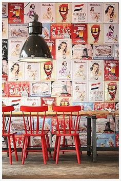A Café bar in Amsterdam with rustic graphic wall coverings, Pure red chairs are coming out in front of the wooden table. Cafe Bar, Cafe Bistro, Restaurant Bar, Restaurant Design, Farmhouse Restaurant, Commercial Design, Commercial Interiors, Deco Cafe, Chaise Vintage