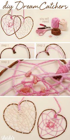 DIY Dreamcatchers cute heart dreamcatcher diy diy ideas diy crafts do it yourself crafty diy pictures