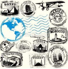 Travel stamps.