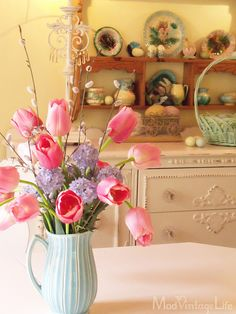pink tulips purple hyacinth