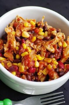 Crock Pot Chicken Taco Chili Recipe via @SparkPeople