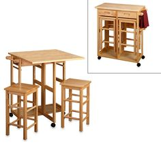 Natural Breakfast Bar with Two Stools $149