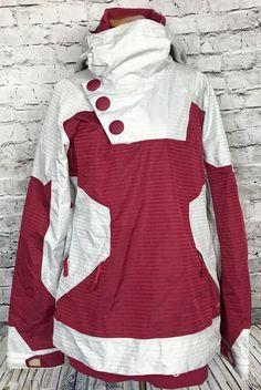 Oakley Womens Ski Snowboard Loose Fit Pink Silver Jacket Sz L  d0b317d38