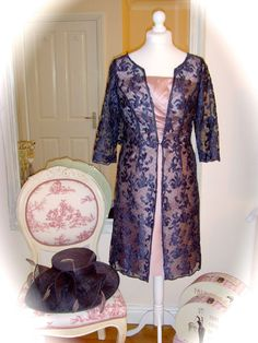 Cabotine Coat/Dress, 14, Rose/Slate & Hat, Mother of Bride Races Ladies Formal