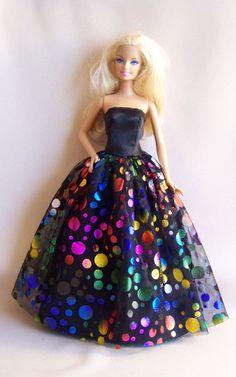 Handmade Barbie Clothes Black Satin Barbie by PersnicketyGrandma, $12.00
