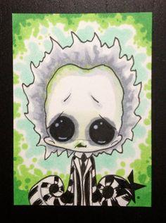 j-- Beetlejuice -- Sugar Fueled Big Eye ACEO mini print Tim Burton Art, Goth Art, Creepy Art, Scary, Beetlejuice, Copics, Horror Art, Princesas Disney, Big Eyes