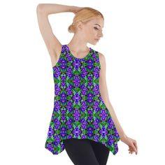 Side Drop Tank Tunic Blouse Purple flower pattern #cowcow #fashion #style