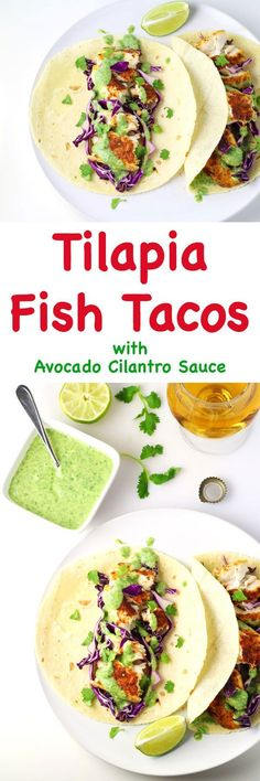 Tilapia Fish Tacos with Avocado Cilantro Sauce - Tastefulventure Tilapia Fish Tacos with Avocado Cilantro Sauce (Gluten Free) - This is a crowd favorite, everyone will love these! Fish Recipes, Seafood Recipes, Mexican Food Recipes, Cooking Recipes, Healthy Recipes, Ethnic Recipes, Tilapia Recipes, Top Recipes, Turkey Recipes