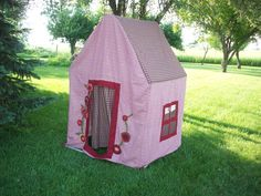 Just imagine all of the possibilities for little girls playing with this large fabric and pvc pipe doll house.  There are books to be read, stories to be told, sharing with friends, and dreams to be made inside this precious little playhouse!