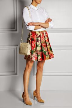 RED Valentino Pleated Floralprint Cotton Skirt