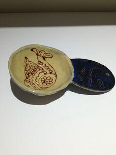Ceramic stoneware spoon scoop bird £14.00