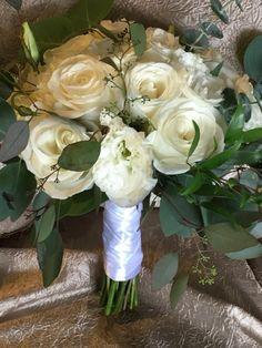 White roses and lisianthus surrounded by eucalyptus Bride's bouquet Bride Bouquets, White Roses, Beautiful Flowers, Weddings, City, Bridal Bouquets, Bodas, Pretty Flowers, Hochzeit