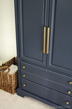 For nightstands - thrift store furniture, painted navy, with pretty gold knobs.