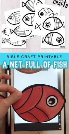 Easy Craft - A net full of fish-Easy Craft – A net full of fish Use for any fishing story in the Bible. This craft is easy for kids, and if you let them use a stapler they'll love you forever! K Crafts, Bible Crafts, Preschool Crafts, Fish Activities, Bible Activities, Sunday School Crafts For Kids, Sunday School Lessons, Christian Kids Crafts, Fishing
