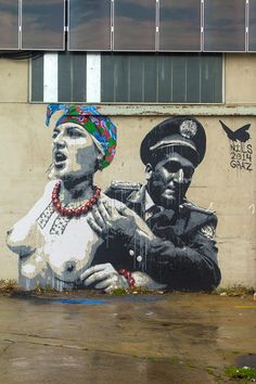 Graffiti Art Wall Freedom Of Expression  Serafini Amelia  by Nils Westergard - New mural that refers to FEMEN, the supporters of womens rights - Graz, Austria - 28.07.2014
