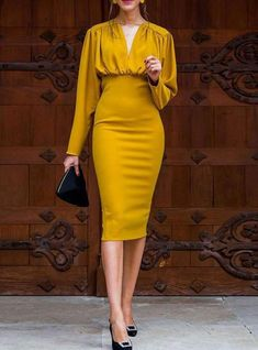 Party Dresses With Sleeves, Sexy Dresses, Evening Dresses, Casual Dresses, Midi Dresses, Long Sleeve Formal Dress, Dress Long, Womens Formal Dresses, Long Sleeved Dress
