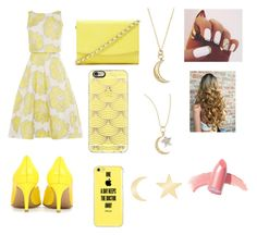 """Untitled #370"" by juneisbest ❤ liked on Polyvore featuring Gianvito Rossi, Forever 21, Casetify, Monica Rich Kosann, Sydney Evan, Talia Naomi, Elizabeth Arden, Spring, yellow and moon"