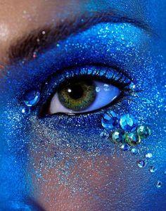 Blue glitter eyeshadow...