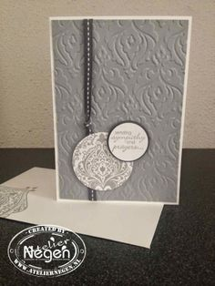 Stampin'Up! Petite Pairs stamp set, Beautifully Baroque stamp set, Circle punches. Condoleance kaartje...By Atelier Negen
