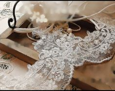Ivory Alencon Lace Trim for Bridal Veils Altered by lacetime