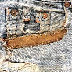 Repaired pocket / Denim / Stitch detail / Mending
