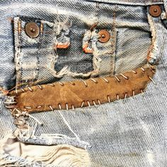 Repaired pocket / Denim / Stitch detail / Mending