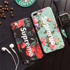 Hot Fashion tide brand Supreme case cover for iphone 7 7plus 6s 6plus Luminous Luxury Matte Hard shell Phone cases couqe fundas