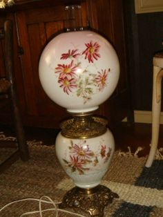 Vintage Pittsburgh Lamp & Brass Co. Oil Lamp Handpainted Pink Glass Globe Gone With Wind Lamp