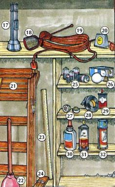 17. flashlight, 18. fly swatter, 19. extension cord 20. tape measure, 21. step ladder, 22. plunger 23. yardstick, 24. mousetrap, 25. batteries 26. Iightbulbs/bulbs, 27. fuses, 28. electrical tape 29. oil, 30. glue, 31. bug spray/insect spray 32. roach killer Dictionary For Kids, Picture Dictionary, Roach Killer, Yard Waste, Electrical Tape, Extension Cord, Gardening Gloves, Tape Measure, Wheelbarrow