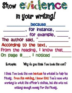 Show evidence in your writing. Free poster