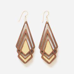 LOVELOVELOVE!! Lasercut wood earrings by Henderson Dry Goods.