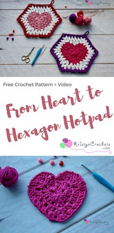 Crochet this Hotpad for valentines, features a granny style heart, to hexagon, made hotbed. Free Pattern and video. Granny Square Crochet Pattern, Crochet Squares, Crochet Motif, Crochet Yarn, Crochet Hearts, Granny Squares, Crochet Potholders, Crochet Granny, Knitting Patterns