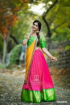 Beautiful pink color lehenga with parrot green color big boarder. Parrot green color designer blouse and mustard color net duapatta. Blouse with hand embroidery work. Half Saree Lehenga, Lehenga Saree Design, Lehenga Designs, Bridal Lehenga, Kids Lehenga, Saree Blouse, Indian Photoshoot, Saree Photoshoot, Indian Wedding Photography Poses