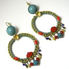 JJ Caprices - Windy Flower Turquoise Pierced $198 #shop #earrings