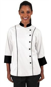 Women's 3/4 Sleeve Traditional Fit Chef Coat - Snap Front Closure - 65/35 Poly/Cotton Style # 831658 #chefuniforms #womensclothing #womenschefwear #chef #women #white #black #fashion #style