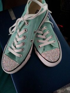 Light blue converse with ab swarovski rhinestones maybe prom shoes cause I  hate heels 51ef052e7c41
