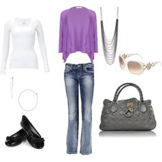 Outfit #4 NEED - sweater (Debs:  in cart 400003767038 med or lrg), white tee (walmart or kohls 89161863, 94570062), silver jewelry (like from other outfits, silver sandals (Rue 21), jeans (Debs:  in cart 400004289324)  Love that Purse!!!