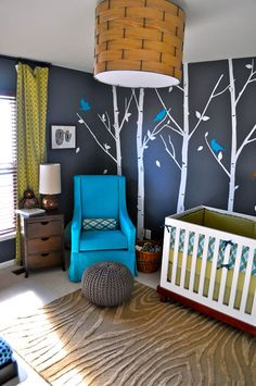 I LOVE these trees on the wall--they'd look cute with any color :) I also love the texture on the rug.  What a cute nursery!
