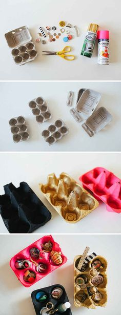 egg cartons for an easy jewelry organizer. | 33 Impossibly Cute DIYs You Can Make With Things From Your Recycling Bin