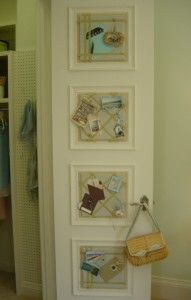 Memo boards in frames hung on closet doors.  You can hang all kinds of things on these!