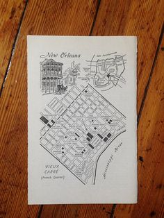 New Orleans Map Print Vintage Map Art New Orleans City by HildaLea