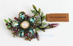 JAY STRONGWATER LARGE FLOWER BROOCH KIMA SWAROVSKI MADE IN USA NEW ORIGINAL BOX