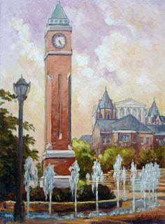 Slu Clock Tower In St.louis Painting  - Slu Clock Tower In St.louis Fine Art Print. WE NEED THIS for our apartment.