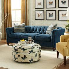 Living Room Furniture Ideas: Tuxedo Sofa   Modern Sofas #modernsofas #chesterfieldsofa #velvetsofa #bluesofa