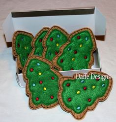 Christmas Tree Shaped Felt Christmas Cookies. $10.00, via Etsy.