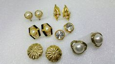 Designer Clip Earrings Retro lot AK petite small clips 6 pair #discount #jewellery